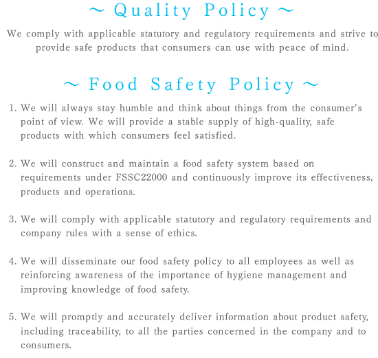Quality Policy - Food Safety Policy